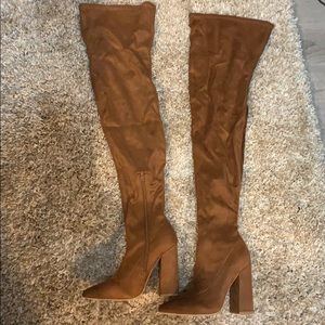 Brown faux suede thigh high boots